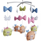 Crib Mobile with Cute Pigs, Baby Newborn Crib Mobile Toy, Colourful Decor