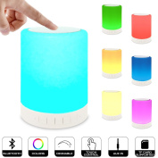 Alenbrathy Night Light Table Lamp with Portable Bluetooth Speaker Touch Control Bedside Lamp Colour LED Outdoor Lamp, MP3 Muisc Player Hands-free Speakerphone