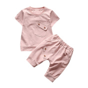TRENDINAO Toddler Kids Baby Boys Girls Clothing Short Solid Button Top+Shorts Outfits Clothes