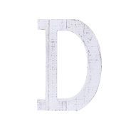 "Adeco Wooden Hanging Wall Letters ""D"" - White Decorative Wall Letter of Living Room, Baby Name and Bedroom Décor, Whitewash"