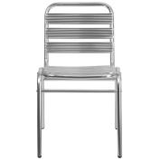 Flash Furniture Aluminium Commercial Indoor-Outdoor Armless Restaurant Stack Chair with Triple Slat Back