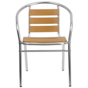 Flash Furniture Aluminium Commercial Indoor-Outdoor Restaurant Stack Chair with Triple Slat Faux Teak Back