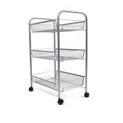 Mind Reader ' Roll ' rolling metal mesh 3 shelf cart, Silver