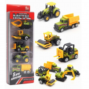 5 Pieces Construction Excavator Dump Truck Car Vehicle Mini Plastic Model Playset Preschool Learning Toys Set for Boys Kids Toddler Favours Die Cast Deluxe Set