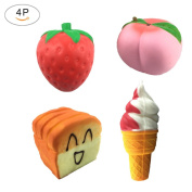 Pack of 4 Jumbo Slow Rising Squishies Strawberry Peach Ice Cream Toast Bread Charms Kawaii Cream Scented Stress Relief Toy Cellphone Holder