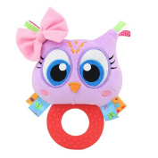 Baby Rattle Hand Bell Toys Plush Owl Elephant Monkey Lion Rattle Dolls Gifts for Infants£¨Purple£