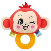 Baby Rattle Hand Bell Toys Plush Owl Elephant Monkey Lion Rattle Dolls Gifts for Infants£¨Red£