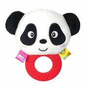 Baby Rattle Hand Bell Toys Plush Panda Bird Frog Dog Rattle Dolls Gifts for Infants£¨ 1 plush rattle toy£¬White£