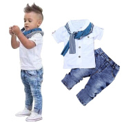 Toddlers Boys Clothes Set, TRENDINAO Kids Baby Short T-Shirt Tops+Scarf+Trousers Outfits