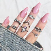 Women Bohemian 7pcs/Set Vintage Silver Stack Rings Above Knuckle Rings Set