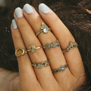 Women Bohemian Vintage Silver Stack Rings Above Knuckle 7pcs/Set
