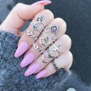 10pcs/Set Rings Set ,Women Bohemian Vintage Silver Stack Rings Above Knuckle
