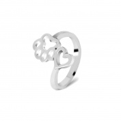 Pet Animal Jewellery,Beauty Hollow Paw Print Love Heart Ring Open Adjustable Ring