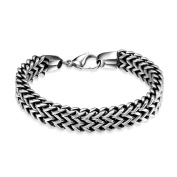 Lingduan Men's Masculine Style 12MM Silver Double Braid Curb Link Chain Bracelet High Polished Silver Colour