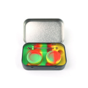 Stainless Steel Tin Box 2-5ml Silicone Dab Container Jars Non-Stick Storage Wax Carrying Case With Extra Tool