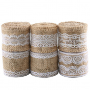 ManYee Natural Burlap Craft Ribbon Roll with White Lace Trims Linen 1190cm Jute Hessian Rustic Wedding Favour Belt Strap Craft for Bridal & Baby Shower Kits