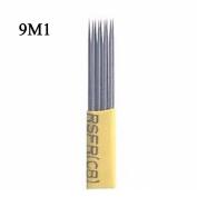 Microblading Double Shading 9 Pins Needle 100pcs 9M1 Microblading Shader Disposable Needle SPMU Permanent Makeup Manual Eyebrow Blade - QMYBrow