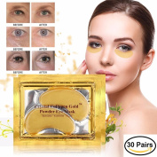 30 pairs of 24K Gold Powder Crystal Gel Collagen Eye Masks | For Anti-Ageing & Moisturising; Reducing Dark Circles, Puffiness, Wrinkles | By L'Amour