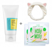 COSRX Low PH Good Morning Gel Cleanser + 2 Holy Moly Snail Masks + 1 Facial-Mask Headband or Etti Hair Band ( Gel Cleanser for Acne Skin / Sensitive Skin Cleanser for Normal Combination Skin) Bundle