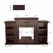 180cm TV Stand Firplace Stand Media Console Bookcase, Espresso