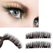 Magnetic 3D False Eyelashes,Elevin(TM)4pcs Women Fashion NEW Ultra-thin 0.2mm Magnetic Eye Lashes 3D Mink Reusable False Magnet Eyelashes Extension Make Up