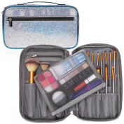 Professional Cosmetic Makeup Brush Organiser Bag Travel Makeup Artist Case with Belt Strap Holder Mesh Bag Multifunctional Cosmetic Makeup Bag Handbag for Travel & Home