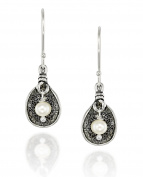Cultured Pearl 925 Sterling Silver Free Form Dangle Earrings