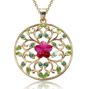 "Angelady""Garden of Dreams""Filigree Circle Flower Pendant Necklace with Amethyst, Crytal from"