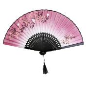 Hand Held Fans Folding Fan Bamboo Hand Fan with Tasse