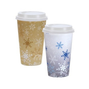 Nicole Home Collection Snowflakes Hot & Cold Cups with Lids, , 470ml, Gold & Silver, 16 Ct