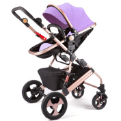 Qiangzi Baby trolley Child Baby Stroller Can Sit Can Lie Down Two-way Fold Four Rounds High Landscape Baby Children Strollers Foldable Baby Stroller for Kids
