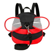 Xiaoyu Bee with Wings Baby Walking Safety Harness Reins Toddler Child Strap Backpack Kid for 3-6 Years Old, Red
