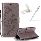 Strap Case for iPhone 7,Wallet Leather Cover for iPhone 7,Herzzer Classic Elegant [Grey Butterfly Pattern] PU Leather Fold Stand Card Holders Smart Phone Case for iPhone 7 12cm + 1 x Free White Cellphone Kickstand + 1 x Free White Stylus Pen