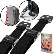 BabyBliss Anti Tip Furniture & TV Safety Straps (2 Pack) | All Metal Parts, No Plastic | Heavy Duty Durable Anchors | Adjustable Safety Straps For Baby Proofing and Child Safety