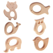 Sharplace 6 Pieces/ Pack Organic Natural Wooden Aniaml Shape Baby Teether Teething Toys Moms DIY Crafts for Crib Pendant Findings