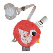 Sevira Kids - Tidy nipple - clip lollipop with small pouch zip - Handmade - Made in France - Coral, ONE SIZE