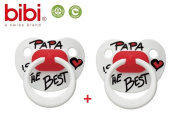 "BIBI SWISS ""PAPA IS THE BEST"" Nr.109838- 2x Pacifiers Soothers Dummnies Anatomical Silicone/ WHITE + RED"