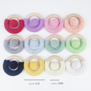 Mamimami Home 20PC 10 pieces of Crochet wood ring 10 pieces of Chewable Bead 20MM A total of 20 pieces baby toys teether pendant Food Grade DIY Crafts