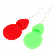bargain house Bow Wire Sewing Needle Threader 5cm Length 2Pcs Green Red