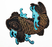Brown Right Japanese Koi Crap Fish Tatoo Biker patch Ideal for adorning your jeans, hats, bags, jackets and shirts.