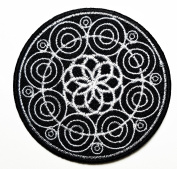 Flower Black Hindu aum om lotus patch Black Hindu aum om lotus iron on patch Ideal for adorning your jeans, hats, bags, jackets and shirts.