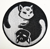 Cat Kitty Dragon Yin Yang patch Ideal for adorning your jeans, hats, bags, jackets and shirts.