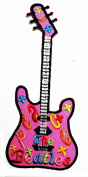 Pink Guitar Hippie Guitar Music Loversr patch Ideal for adorning your jeans, hats, bags, jackets and shirts.