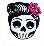 Flower Sugar Skull (grey) Day of the Dead Lady Rider patch Ideal for adorning your jeans, hats, bags, jackets and shirts.