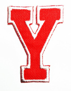 Red Alphabet Letter Y patch Kids Learning School ABC Iron On patch Ideal for adorning your jeans, hats, bags, jackets and shirts.
