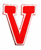 Red Alphabet Letter V patch Kids Learning School ABC Iron On patch Ideal for adorning your jeans, hats, bags, jackets and shirts.
