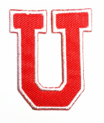 Red Alphabet Letter U patch Kids Learning School ABC Iron On patch Ideal for adorning your jeans, hats, bags, jackets and shirts.