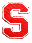 Red Alphabet Letter S patch Kids Learning School ABC Iron On patch Ideal for adorning your jeans, hats, bags, jackets and shirts.