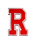 Red Alphabet Letter R patch Kids Learning School ABC Iron On patch Ideal for adorning your jeans, hats, bags, jackets and shirts.