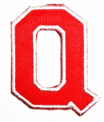 Red Alphabet Letter Q patch Kids Learning School ABC Iron On patch Ideal for adorning your jeans, hats, bags, jackets and shirts.